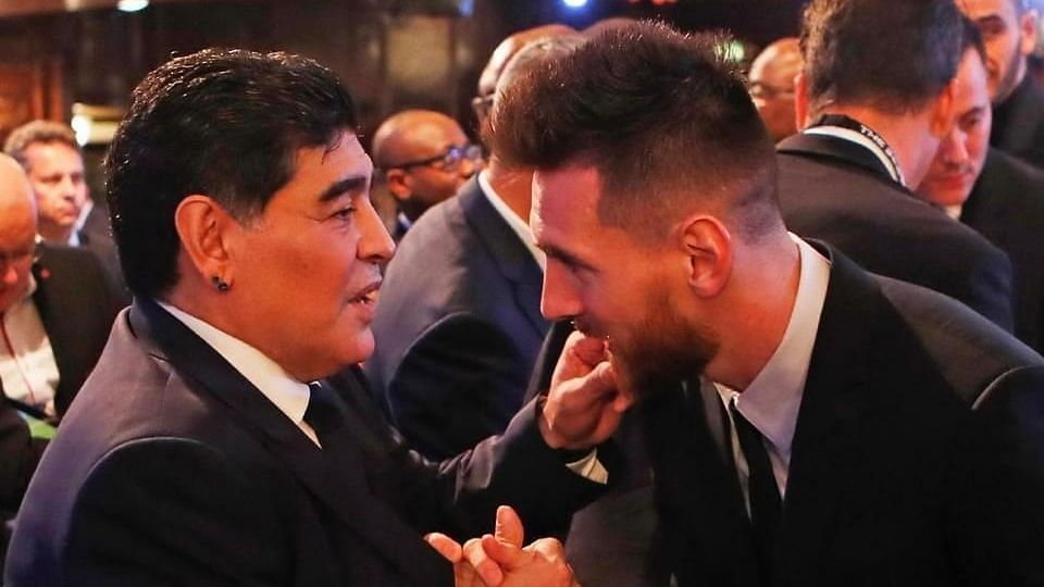Diego Maradona and Lionel Messi at The Best Awards Gala