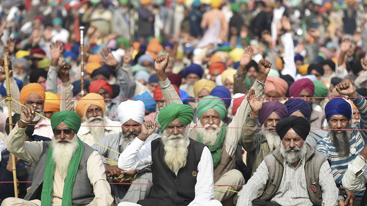 Farmers stage a protest at the Singhu border during their 'Delhi Chalo' march against the Centre's new farm laws, in New Delhi, on Tuesday, 1 December 2020. Image used for representational purposes.