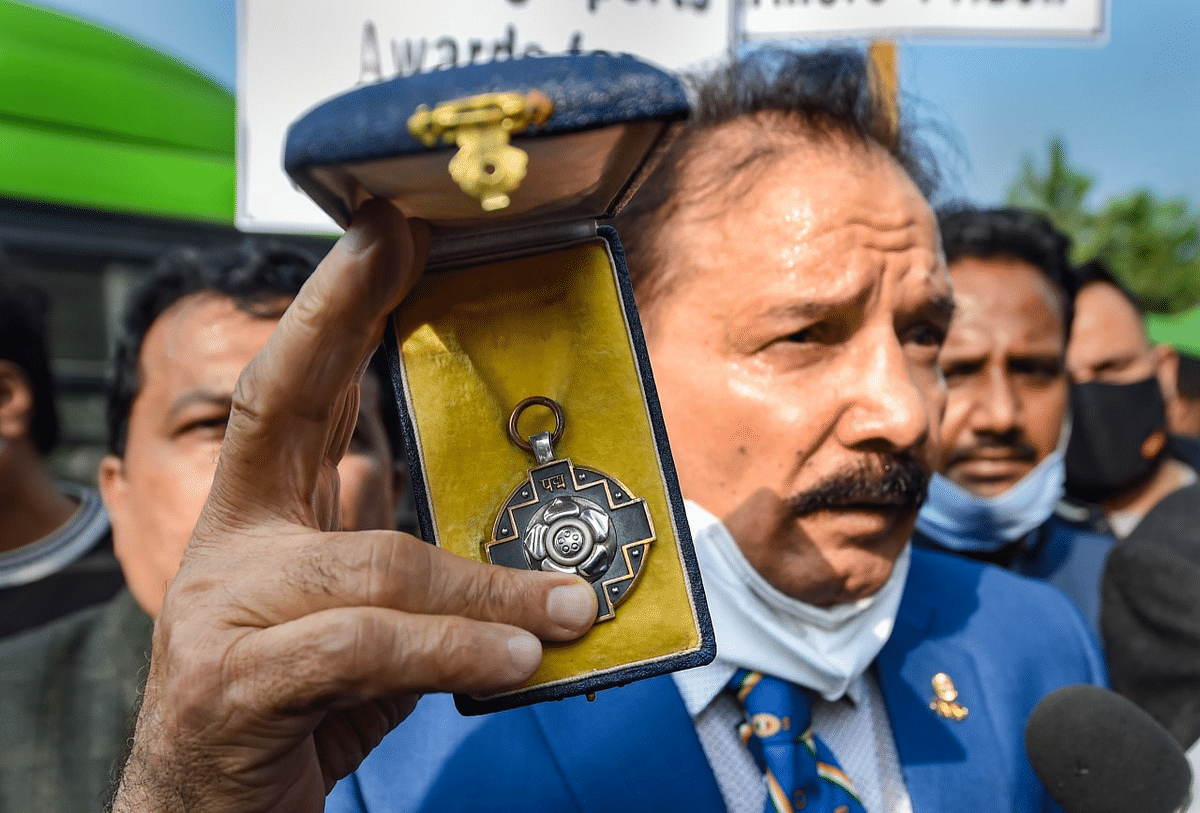 New Delhi: Padma Shri and Arjuna Award winner, former wrestler Kartar Singh, during the sportspersons march towards Rashtrapati Bhawan to return their awards to the President, in support of farmers agitation against Centre's farm reform laws