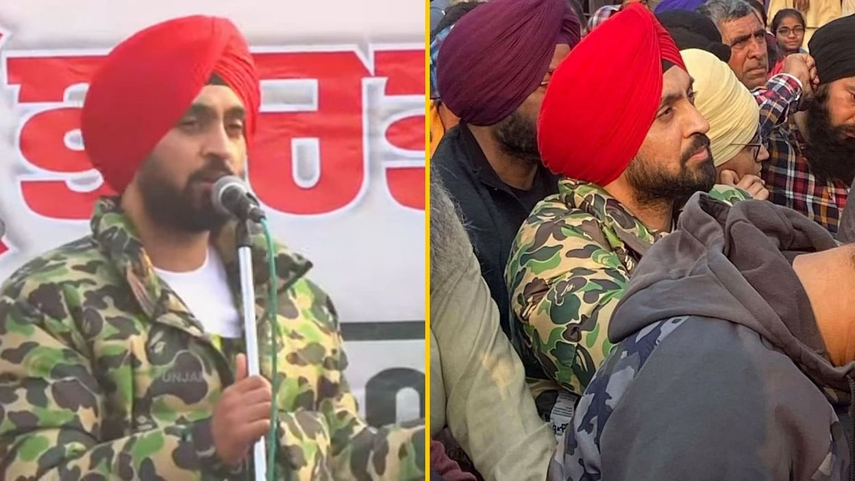 Farmers protest against the farm laws 2020: Diljit Dosanjh spotted at Singhu border where he addressed speech to where he taunted Kangana.