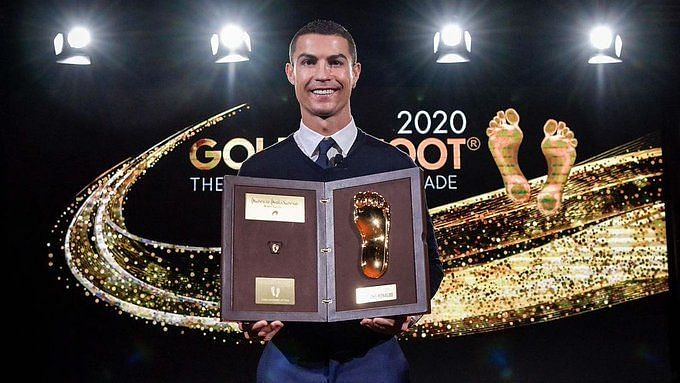 The Portugal captain got his hands on the prize at a small ceremony in Turin on Sunday.