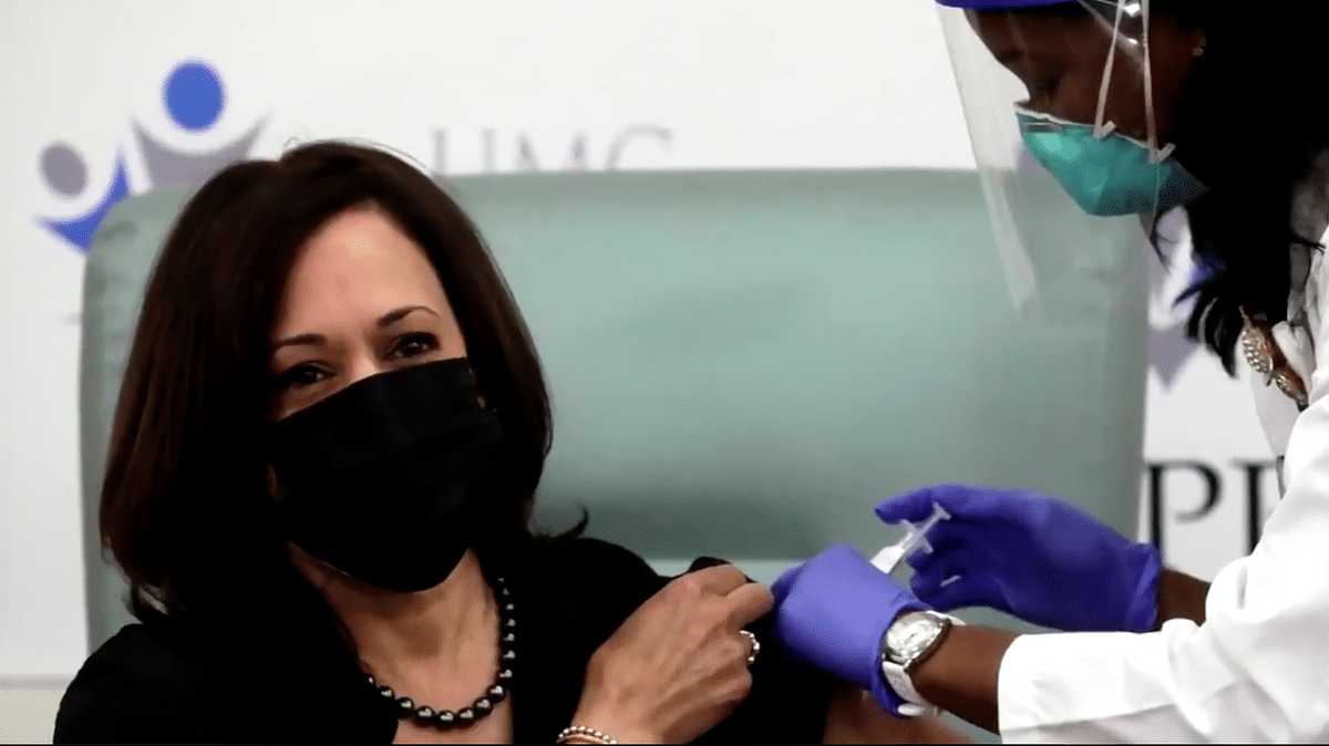 Vice President, Kamala Harris gets the COVID-19 vaccine on live television