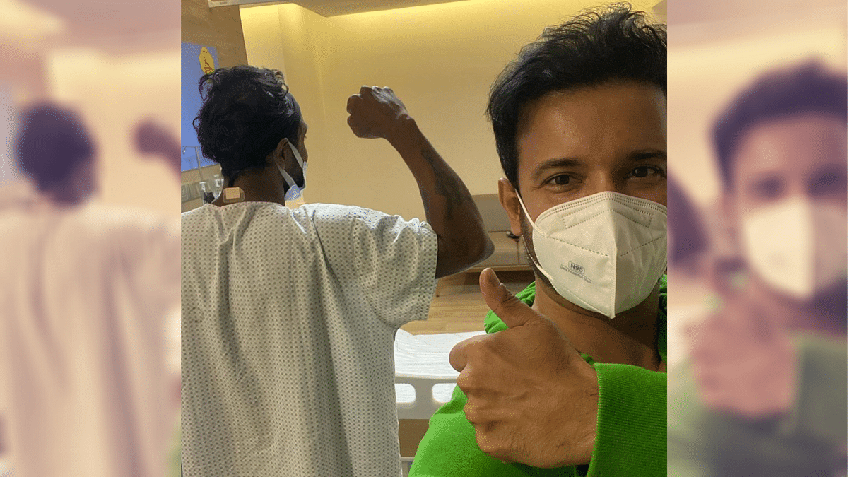 Remo D'Souza strikes a pose from his hospital room.