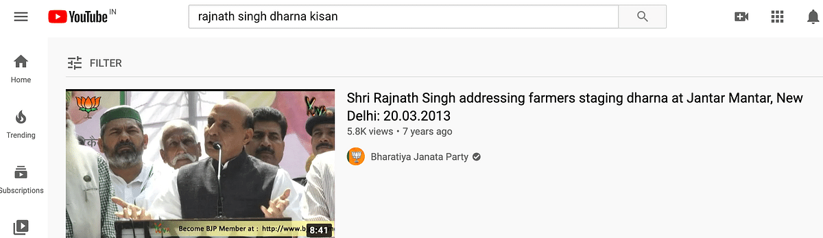 Rajnath Singh Supporting Farmers' Protest? No, the Video Is Old