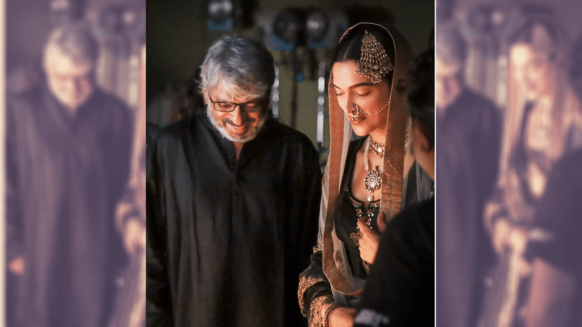 Deepika Padukone and Sanjay Leela Bhansali on the sets of <i>Bajirao Mastani</i>.