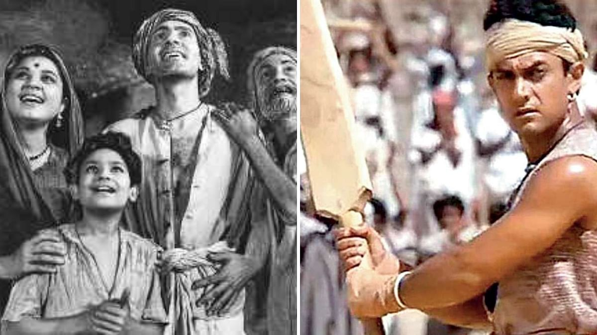 Stills from Do Bigha Zamin and Lagaan.