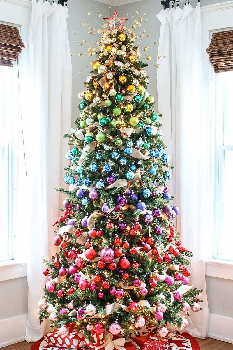 A rainbow colour Christmas tree.