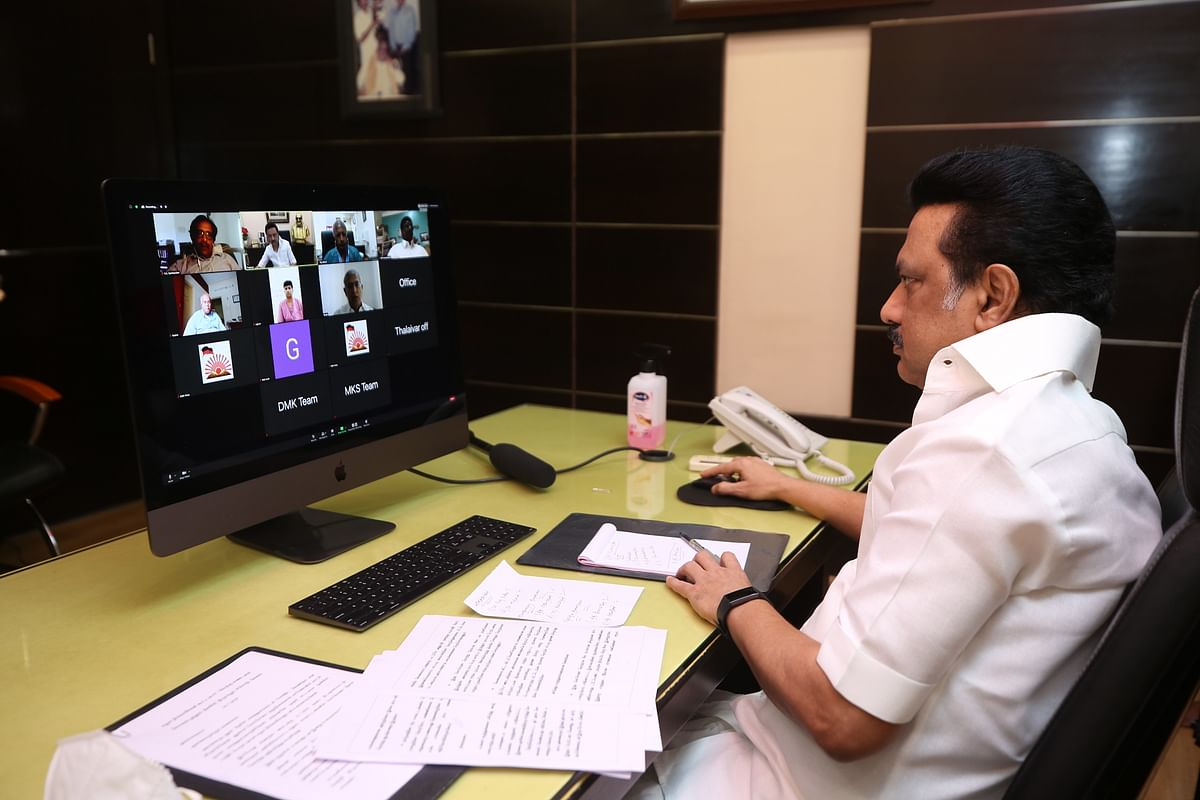 MK Stalin holding a Zoom call discussion with gram panchayat leaders.