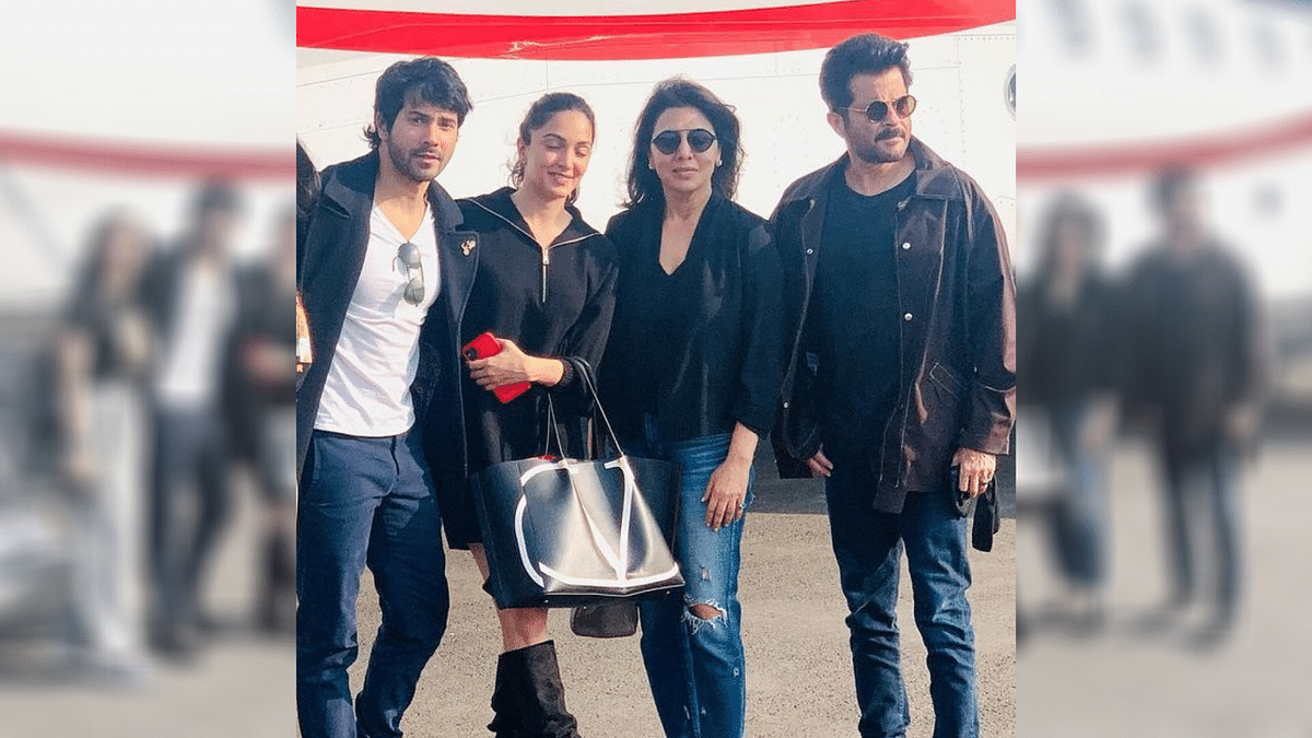 Neetu Kapoor with her <i>Jug Jugg Jeeyo</i> co-stars Varun Dhawan, Kiara Advani and Anil Kapoor.