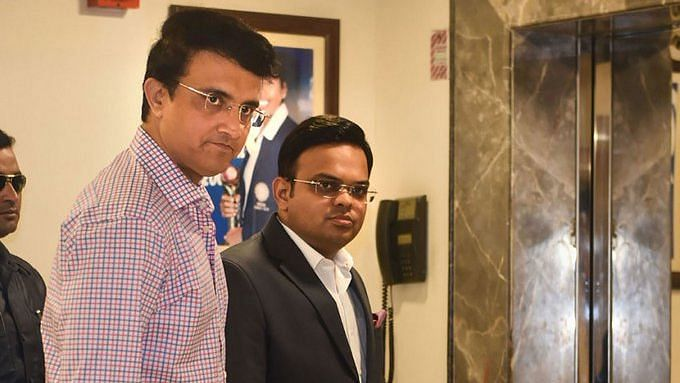 President Sourav Ganguly and Secretary Jay Shah at the BCCI Office.