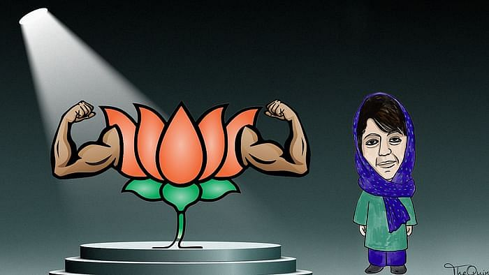 Artist's impression of BJP symbol and Mehbooba Mufti (R) used for representational purposes.