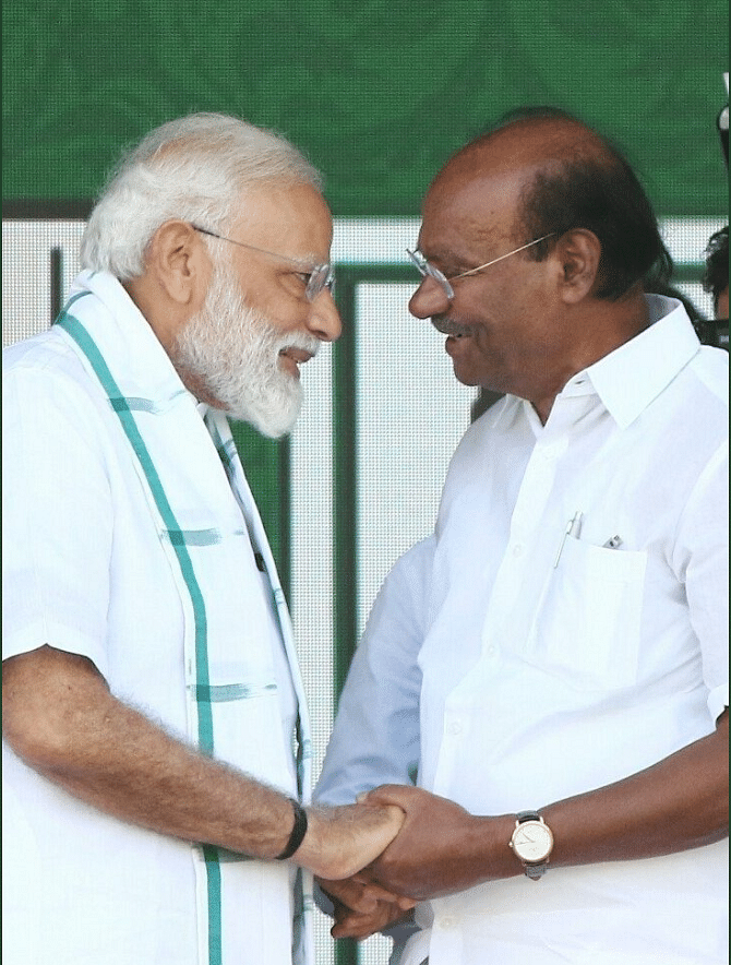PMK Founder Dr S Ramadoss with PM Modi