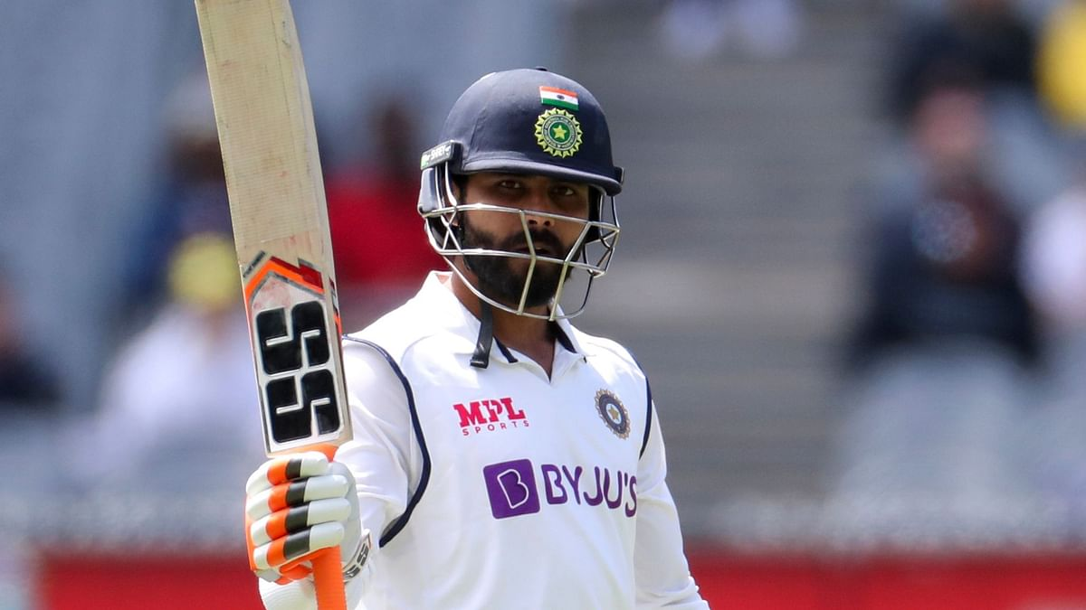 Ravindra Jadeja celebrates his half century during day three of the second test between India and Australia at the Melbourne Cricket Ground.