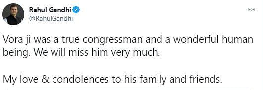 Rahul Gandhi tweeted his condolences