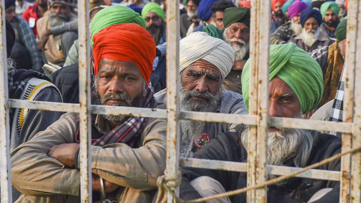 Farmers during a protest against the new farm laws at the Singhu Border on  24 December 2020.