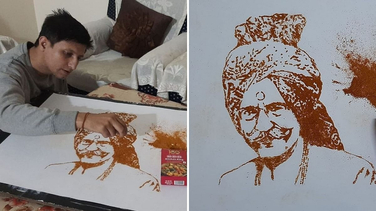Chandigarh Artist Makes Portrait of MDH Uncle Using Actual Masalas
