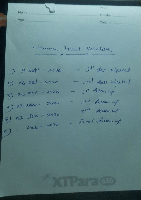 Human trial schedule after getting the first doze of Covaxin.
