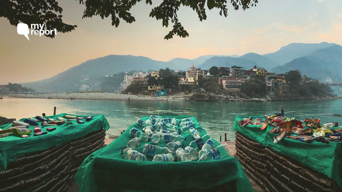 Three deathbeds are made up of over 3,000 single-use plastic items collected from around the Ganga.