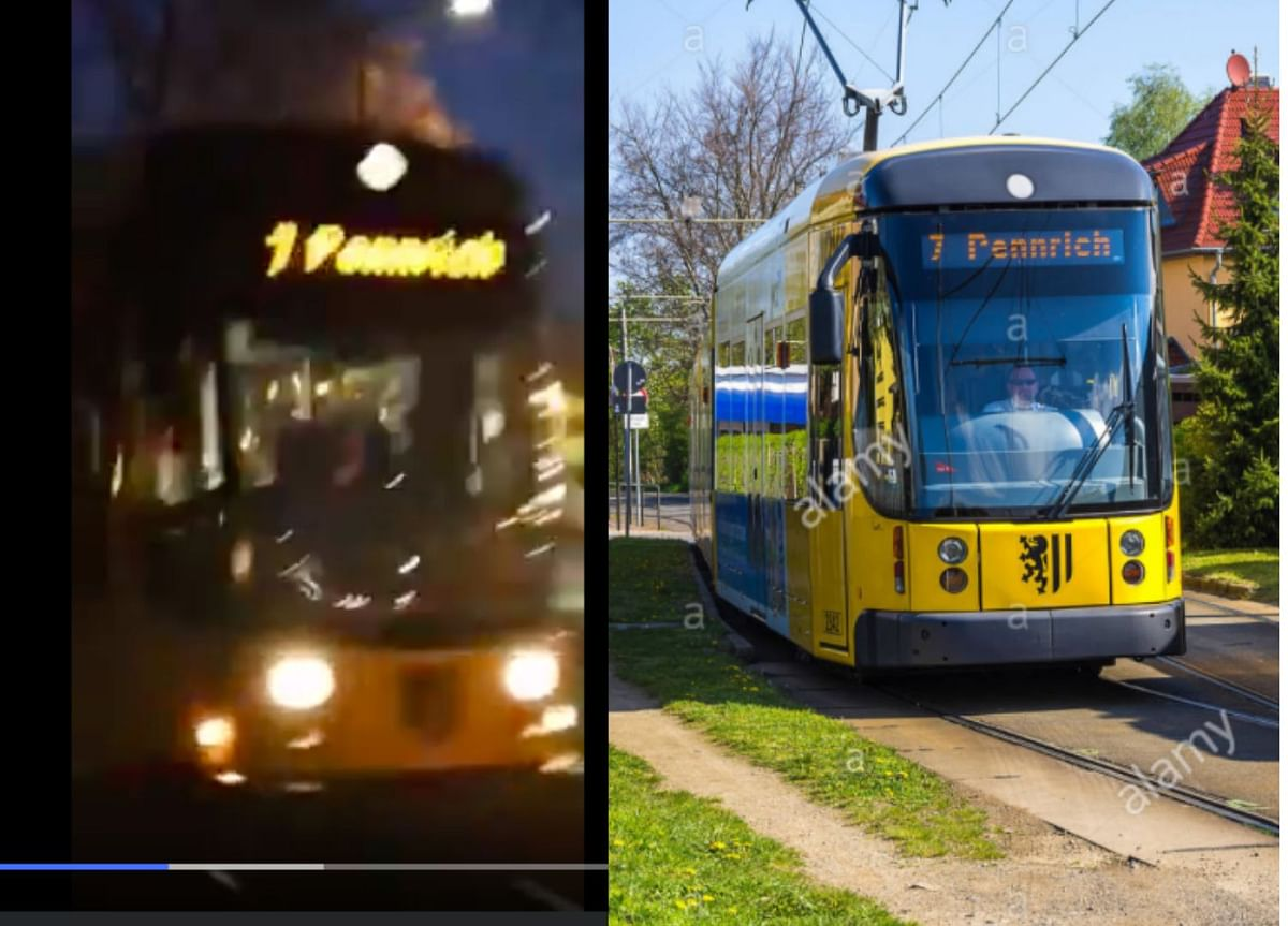 A screengrab from the viral video (L) and the image on Alamy (R)