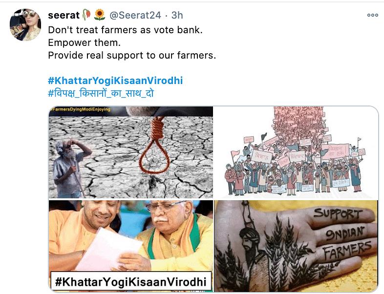 The hashtag #KhattarYogiKisaanVirodhi is trending on Twitter