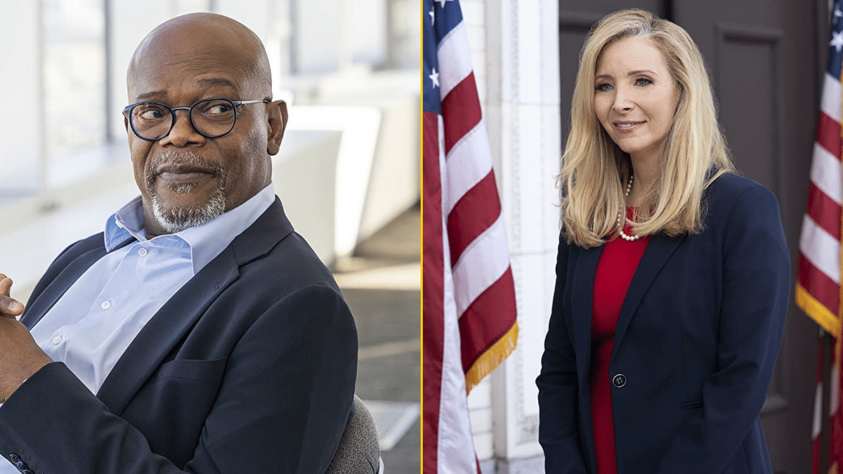 Samuel L Jackson and Lisa Kudrow in stills from Netflix comedy <i>Death To 2020</i>.