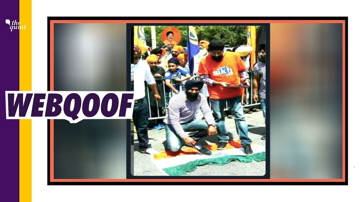 Image of Sikh protesters stepping over India's national flag is doing the rounds on social media with misleading claims.