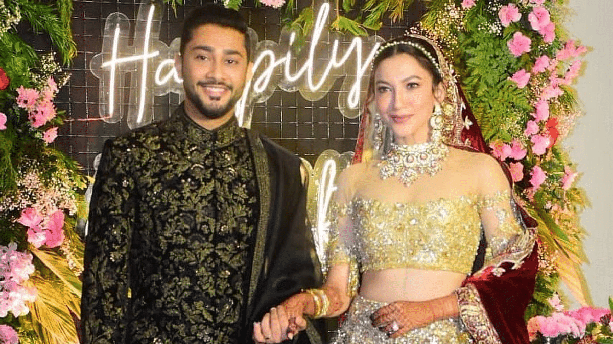 Newly weds Gauahar Khan and Zaid Darbar at their wedding reception.