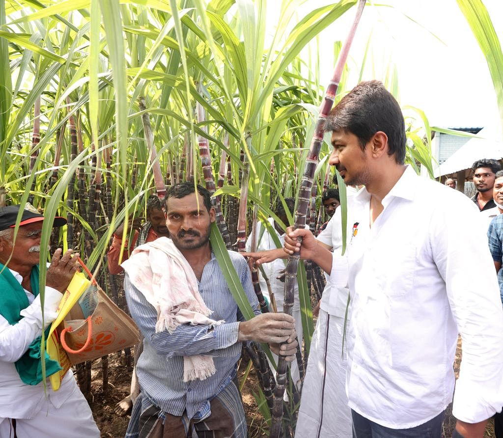 Udhayanadhi Stalin met with sugarcane farmers in Cuddalore to tell them the DMK's campaign 'WeRejectADMK.'