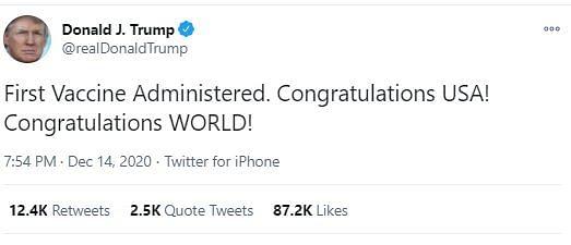 First COVID Vaccine Administered in US, Trump Congratulates World