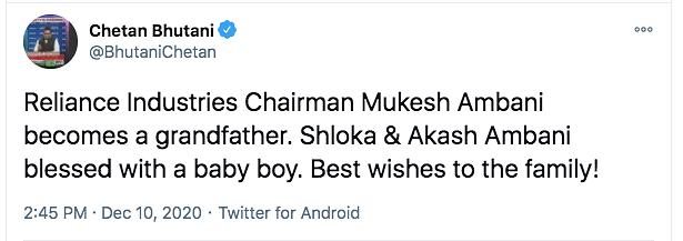Akash & Shloka Ambani Become Parents to a Boy