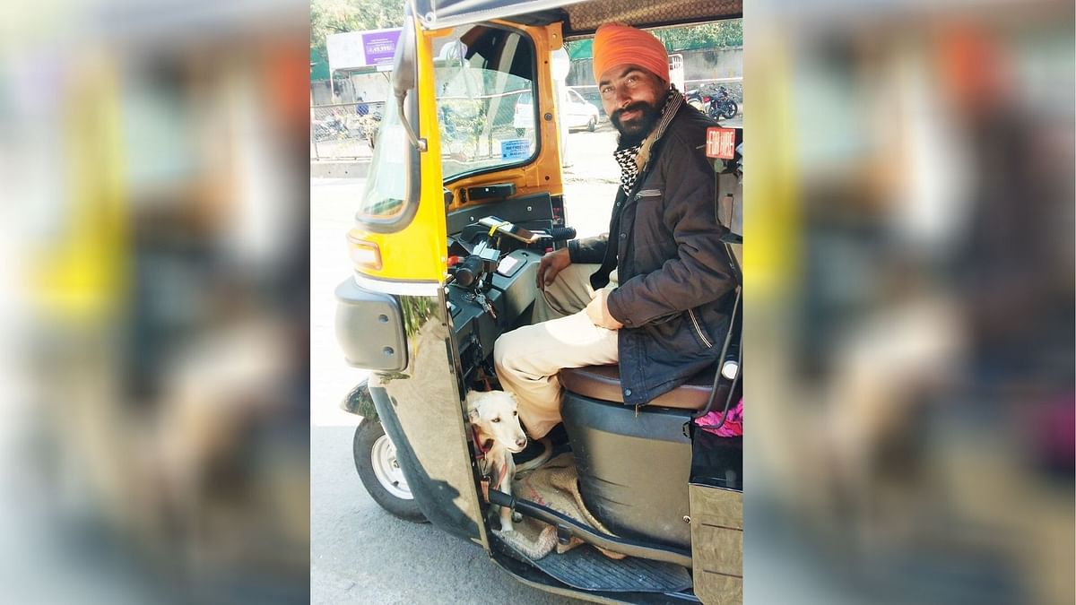 Auto Driver Accompanied by Pet Dog Goes Viral, Facebook Reacts