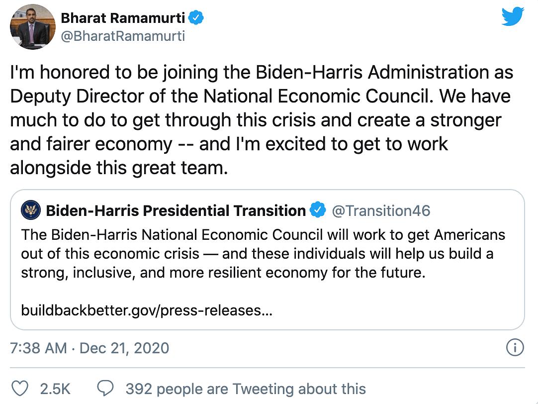 Biden Names Bharat Ramamurti as US  Economic Council Member
