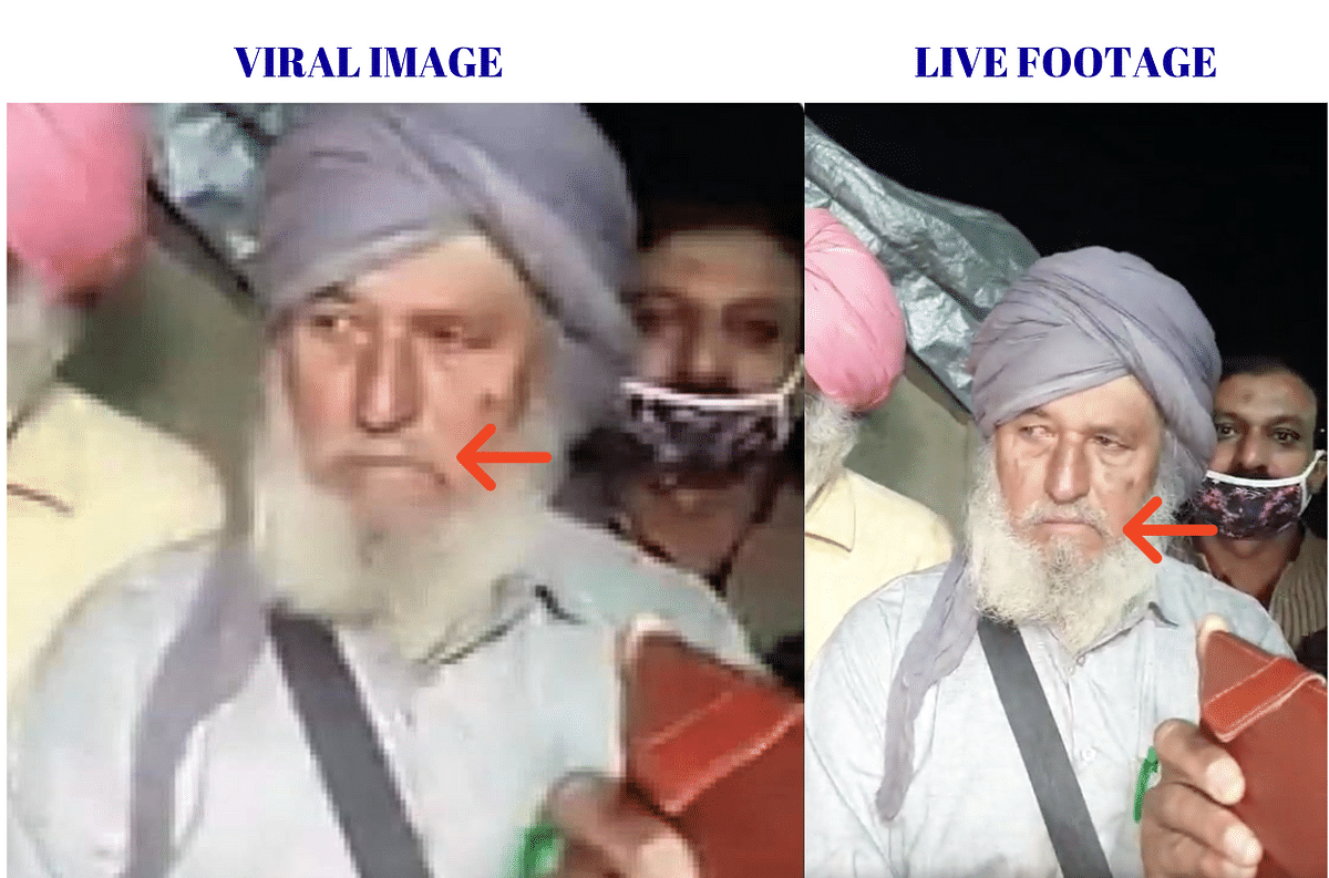 Left: Viral image. Right: Live footage.