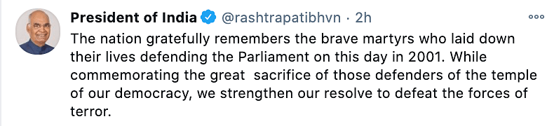 President Kovind pays tribute to the martyrs of the Parliament attacks.