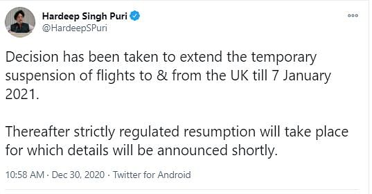 COVID: India Extends Suspension of Flights To & From UK Till 7 Jan
