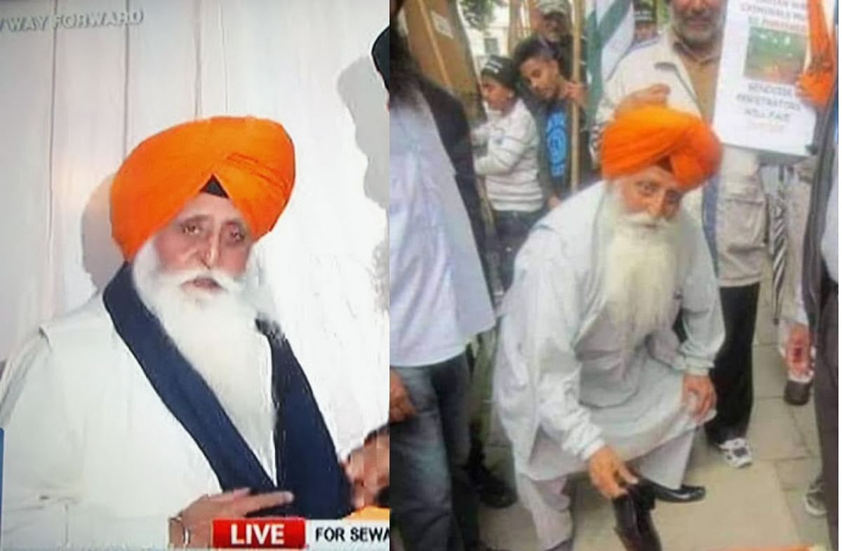 A comparison of Manmohan Singh Khalsa's image on the blog (L) and the viral image (R).