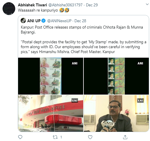 Twitter on Kanpur Post Office Releasing Stamps Featuring Gangsters