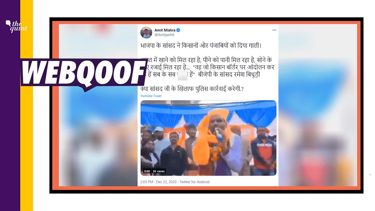 BJP's Ramesh Bidhuri's Speech on Farmers Viral With False Claim