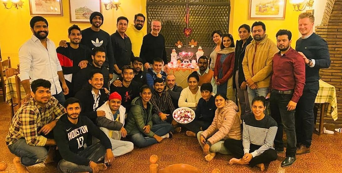 India's 27-member boxing contingent celebrated Diwali in France where they were training for the Olympics.