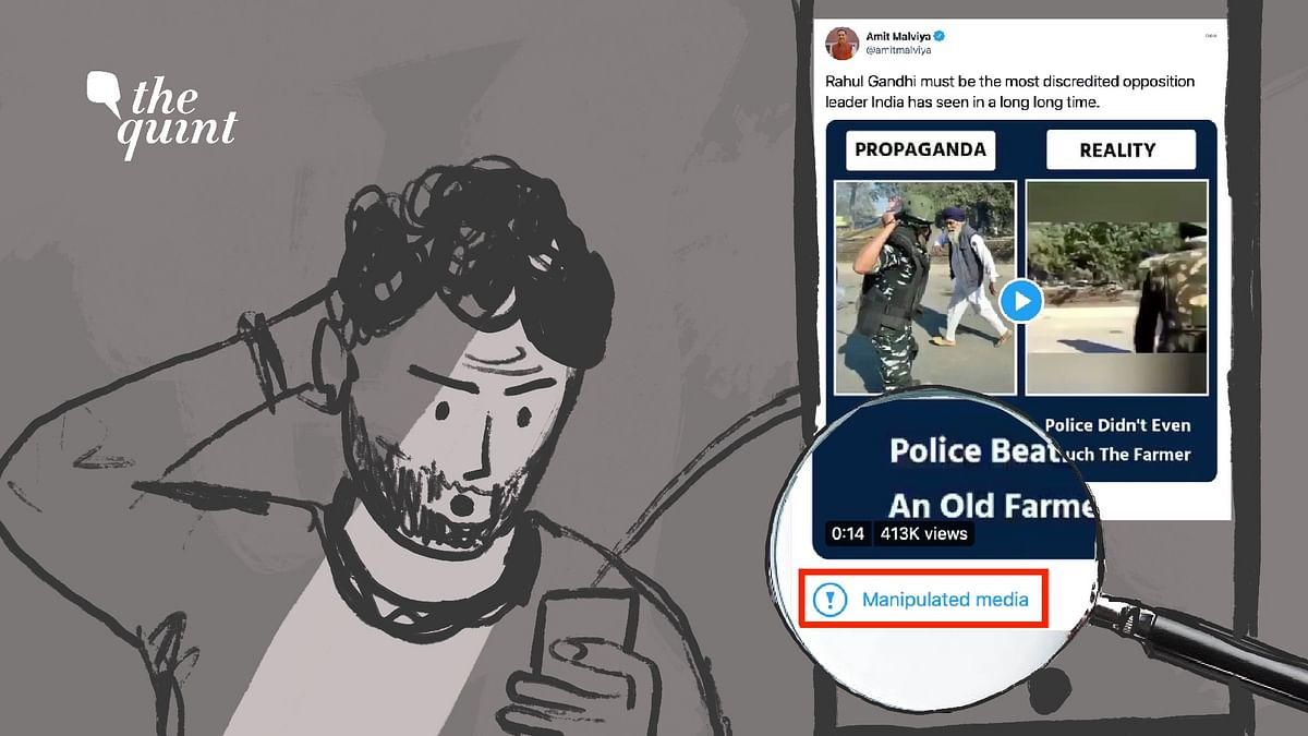 Days after BJP IT Cell head Amit Malviya, notorious for spreading disinformation, shared a 'propaganda vs reality' video from the ongoing farmers' protest, Twitter labelled his tweet as 'manipulated media'.
