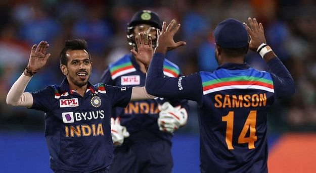 Yuzvendra Chahal celebrates a wicket against Australia.
