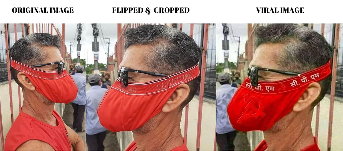 No, This Man Isn't Wearing CPI(M)'s Mask; Image is Edited