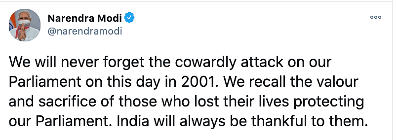 PM Narendra Modi pays tribute to the martyrs of the Parliament attacks.