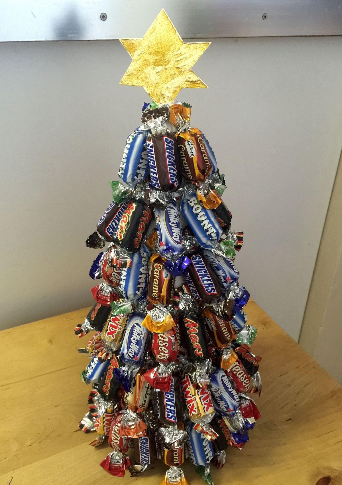 A chocolate Christmas tree.