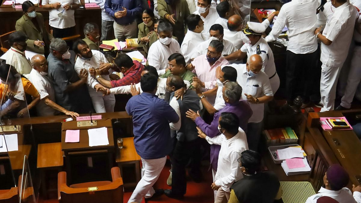 BJP members reportedly prevented the Chairman from chairing the one-day session, while Congress members in the House evicted the Deputy Chairman from the chair.