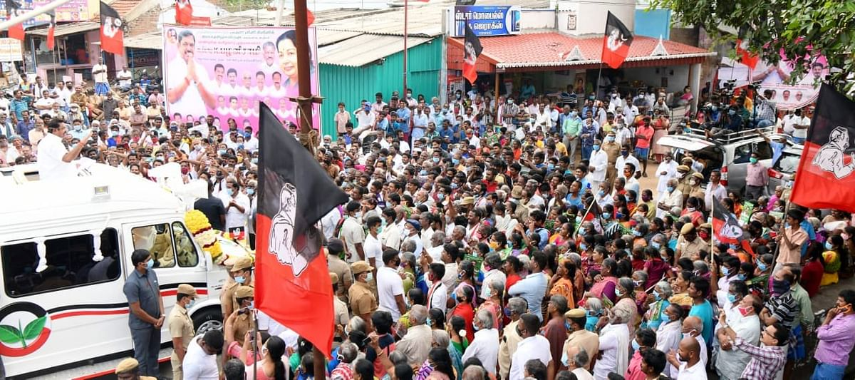 He was seen campaigning in former chief minister Jayalalithaa's style.