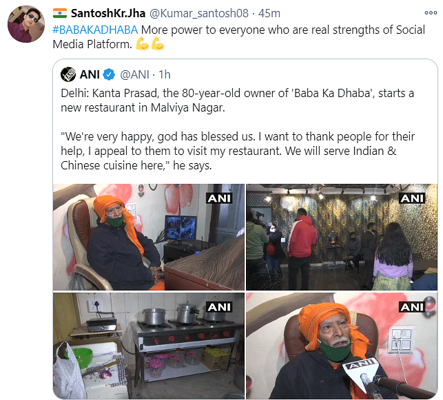 'Baba Ka Dhaba' Owner Starts Own Restaurant, Twitter Reacts