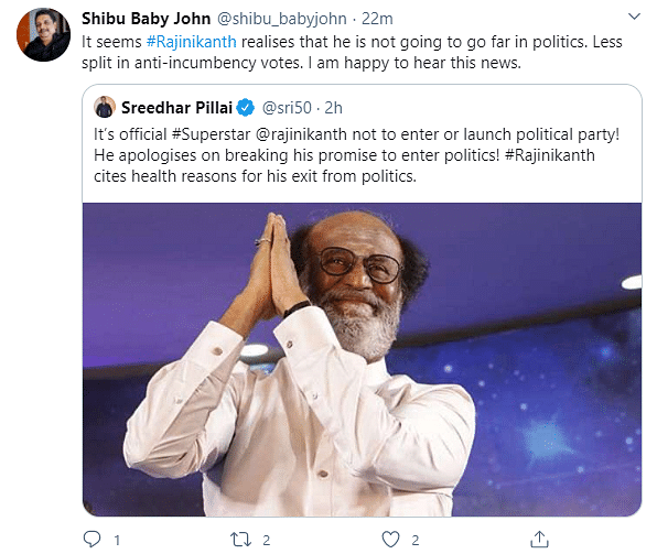 Twitter Reacts To Rajinikanth's Decision To Not Join Politics
