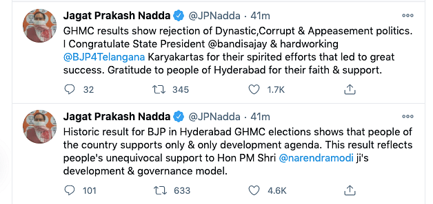GHMC Result | 'Astounding, Historic': Shah, Nadda on BJP's Showing
