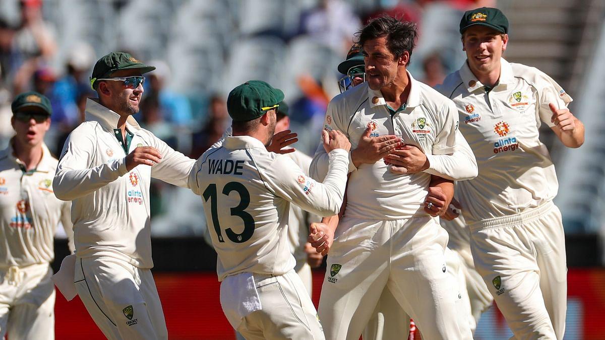 Mitchell Starc and Australia celebrate an Indian dismissal.